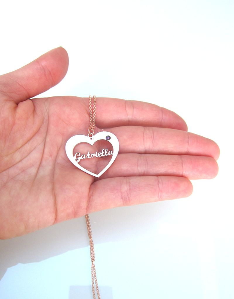 Silver necklace with birthstone and name