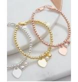 KAYA Silver bracelet 'Cute Balls' Great heart & Pearl
