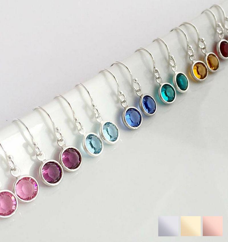 SWAROVSKI® Birth Crystal Earrings1 (Silver)