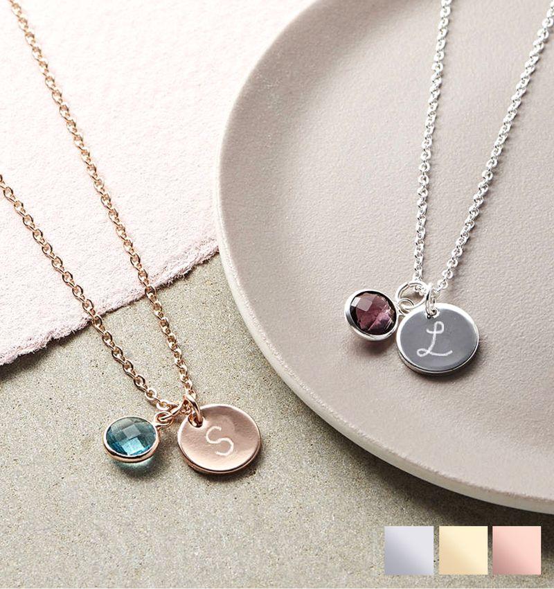 KAYA Silver Necklace '' Disc & Swarovki® Birthstone '
