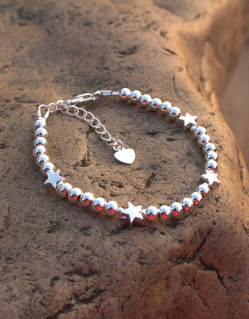 KAYA Zilveren armband 'Cute Balls' - sterren