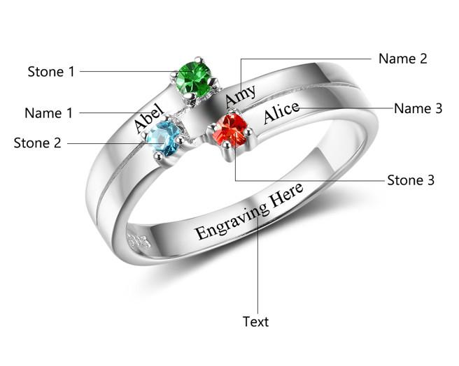 Gepersonaliseerde sieraden Call with birthstones '4 kids' - Copy