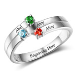 Gepersonaliseerde sieraden Zilveren Gepersonaliseerde Ring 'Graceful' met Geboortestenen en Gravure