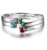 Gepersonaliseerd Zilveren ring met 3 geboortestenen