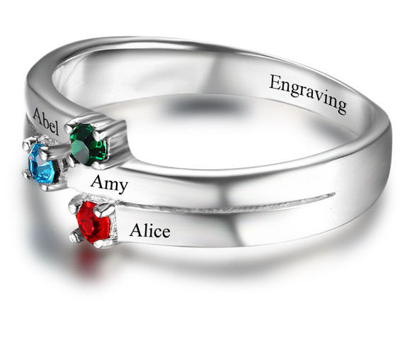 juwelier Zilveren ring met 3 geboortestenen
