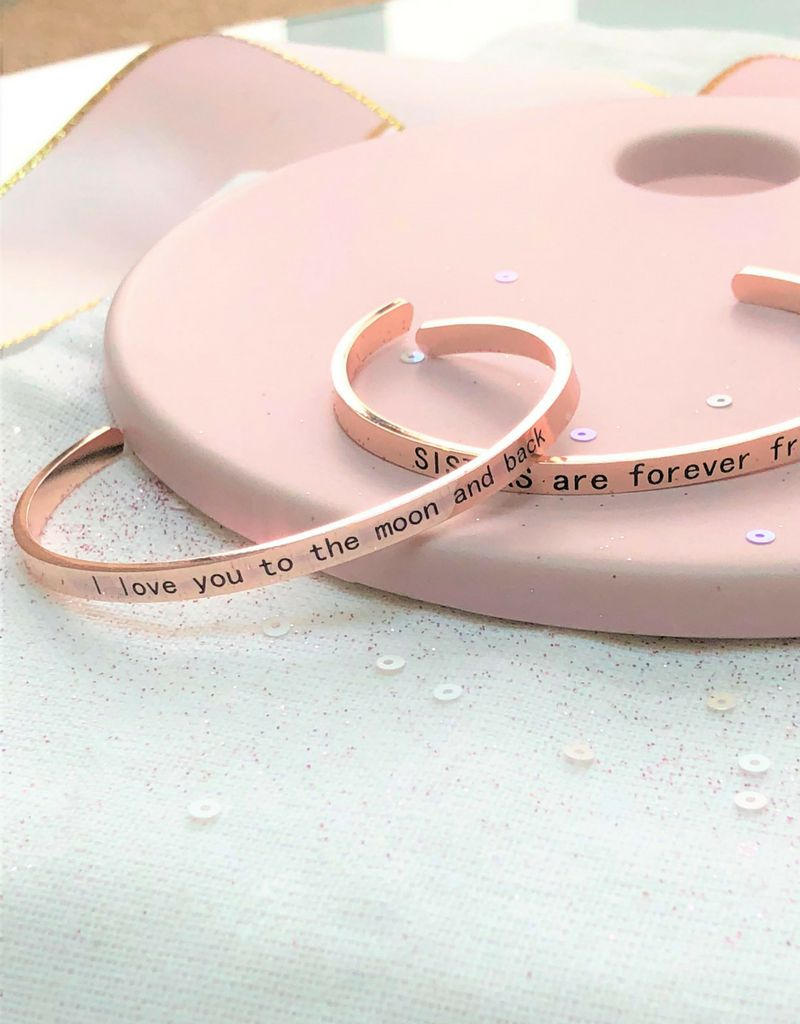 KAYA Bangle with text 'I love you to the moon and back'