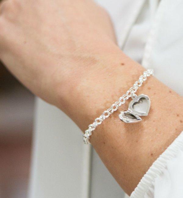 KAYA sieraden Jasseron Armband 'Hart Medaillon' - kies je materiaal