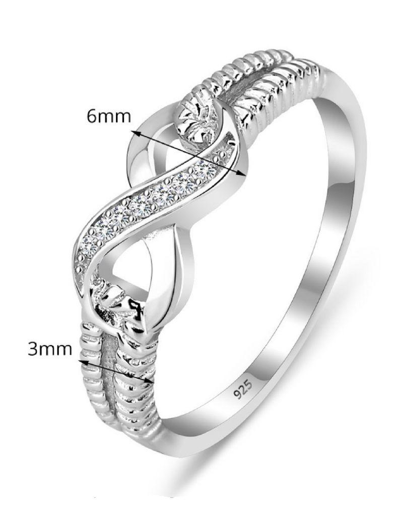KAYA sieraden Zilveren ring 'Infinity Crystal' met swarovski stenen