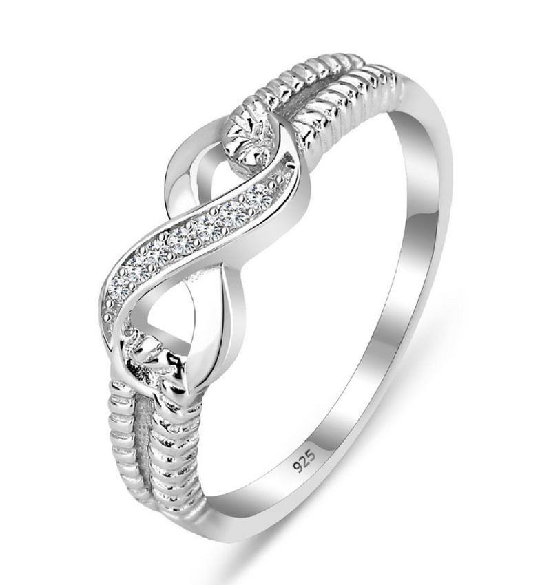 Zilveren ring 'Infinity Crystal' met swarovski stenen