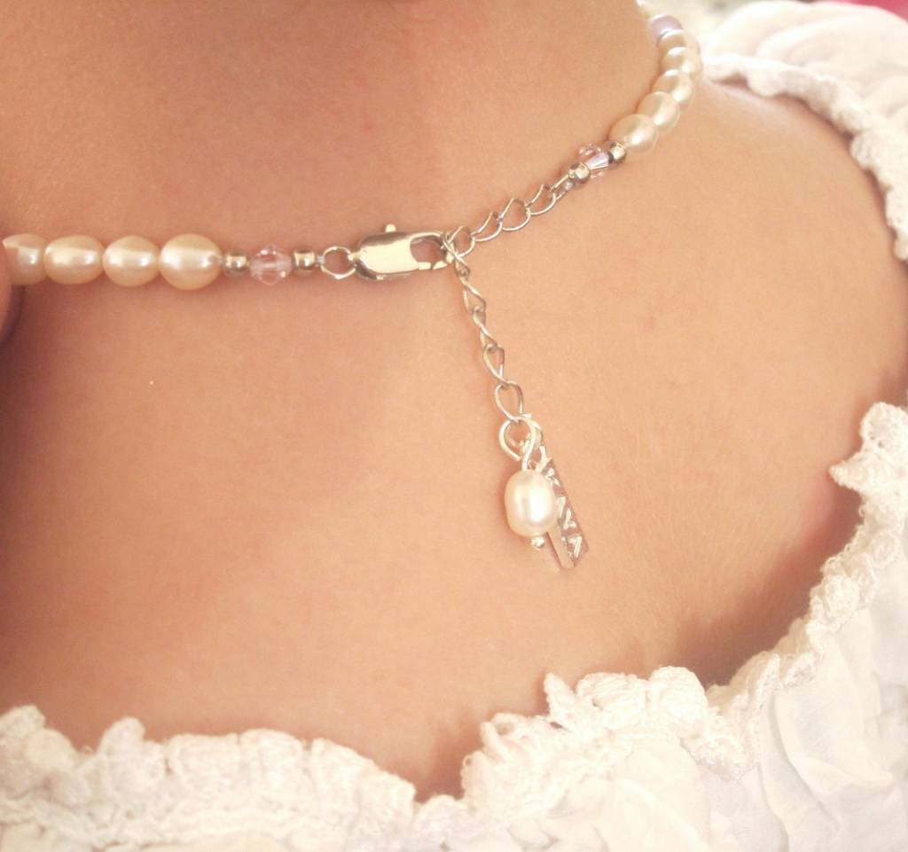 Children necklace 'Infinity White' heart with globe