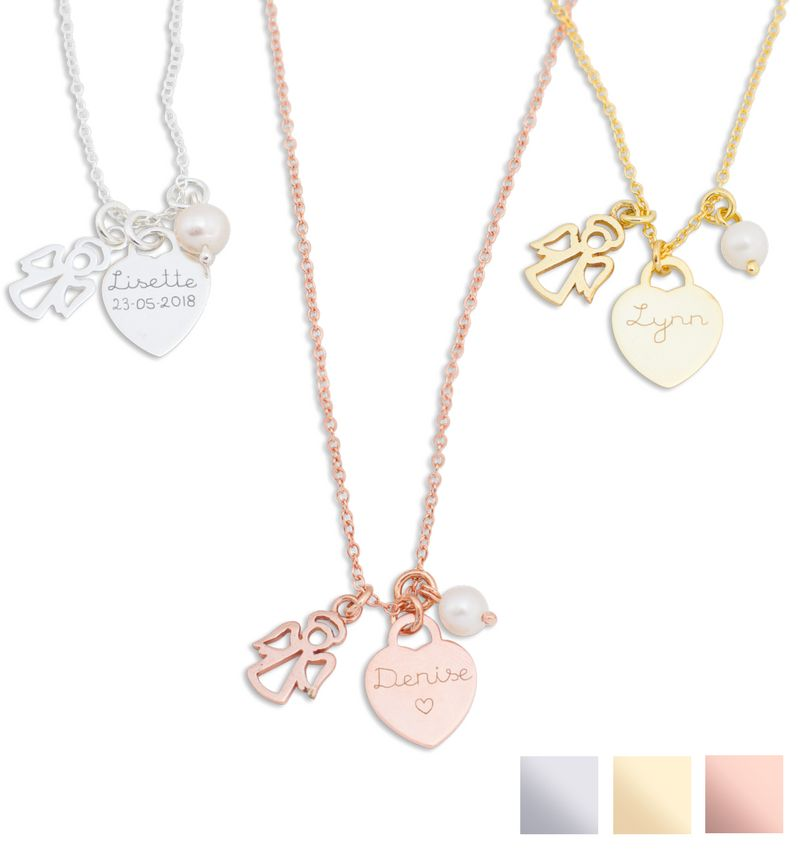 KAYA sieraden Silver necklace with engraving charm 'Tiffany style'