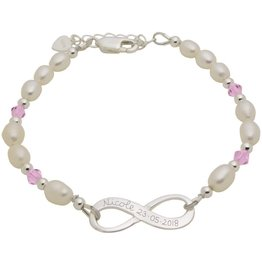 handgravure Infinity Bracelet silver 'forever' with Pearl - Copy - Copy