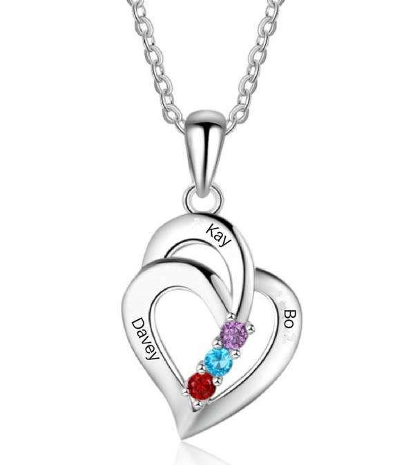 juwelier Gepersonaliseerde ketting 'Loving Heart' met geboortestenen