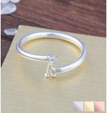 Gepersonaliseerde sieraden Zilveren Ring 'Initial' met Letter en Geboortesteen