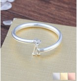 juwelier Gepersonaliseerde ring 'Initial' met letter en geboortesteen
