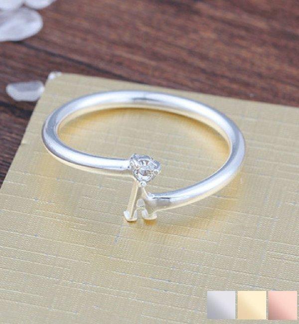 Gegraveerde sieraden Zilveren Ring 'Initial' met Letter en Geboortesteen