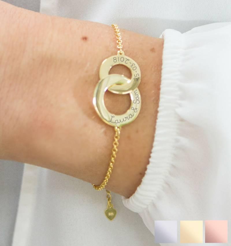 Sieraden graveren Gepersonaliseerde Zilveren Armband 'Verstrengeld' met Gravure
