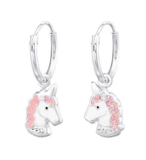 KAYA sieraden Zilveren creolen 'Unicorn' met roze manen