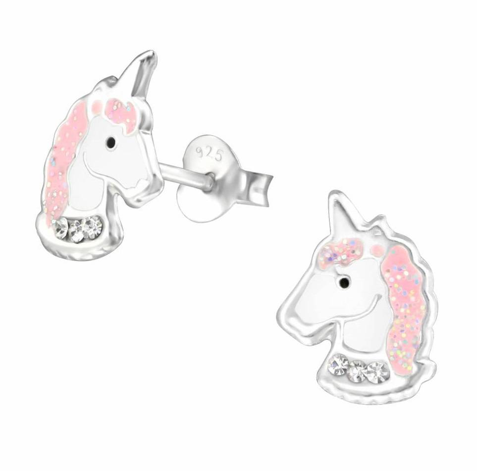 KAYA sieraden Zilveren Kinderoorbellen 'Unicorn' met lichtroze manen