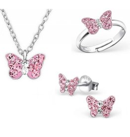KAYA sieraden Silver set: Necklace & Earrings & Ring 'butterfly'