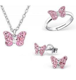 KAYA Silver set: Necklace & Earrings & Ring 'butterfly'