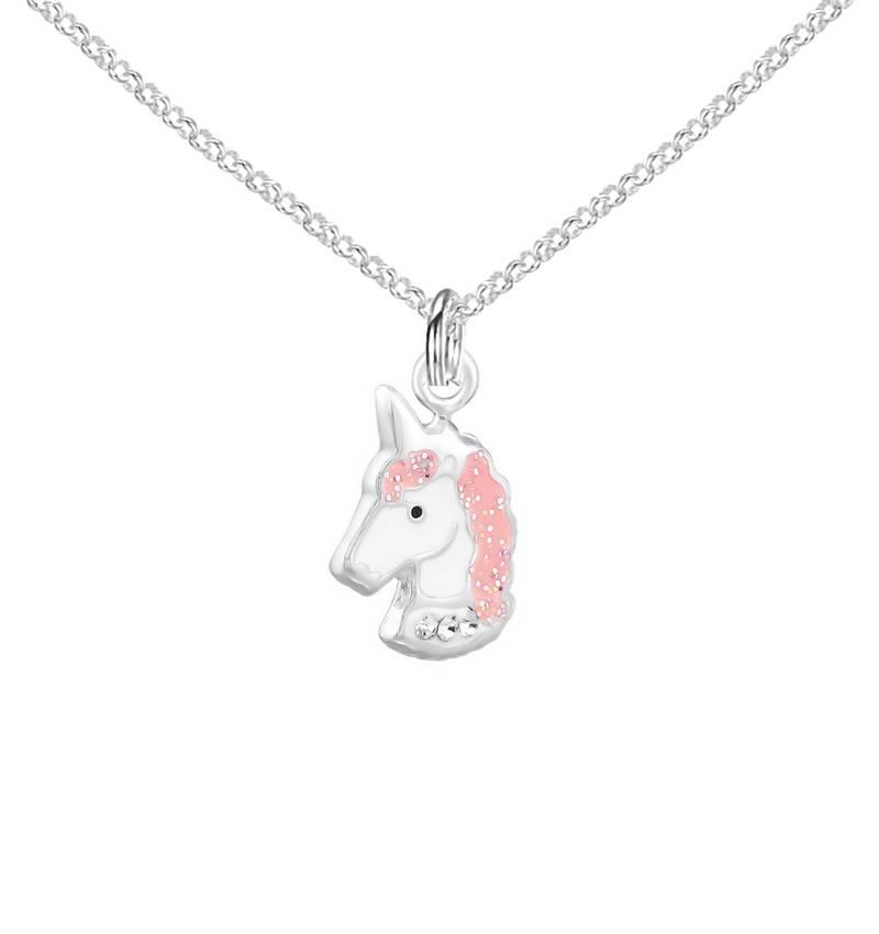 Zilveren kinderketting 'Unicorn' roze
