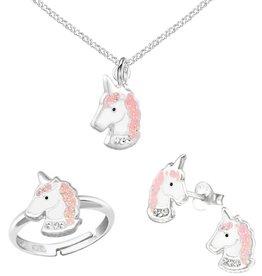KAYA sieraden Zilveren set 'Unicorn' roze