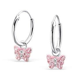 KAYA sieraden Zilveren creolen 'Roze kristallen Vlinders'