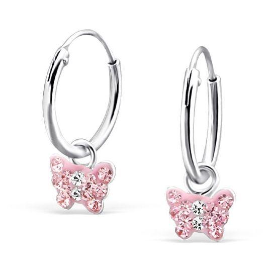Zilveren creolen oorbellen 'Pink Butterfly'