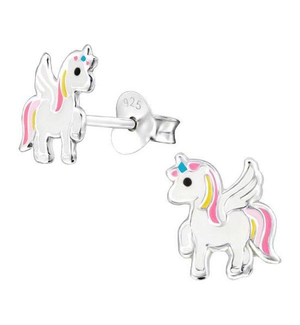 KAYA sieraden Zilveren Kinderoorbellen 'Unicorn' met roze manen
