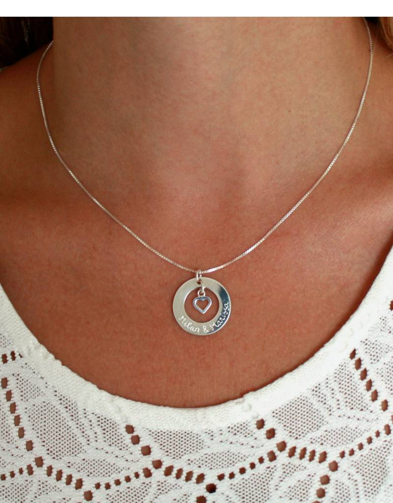 handgravure Silver Necklace 'Handwriting' with Pareltje - Copy