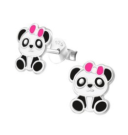 Silver childrens earrings 'Panda with pink bow'