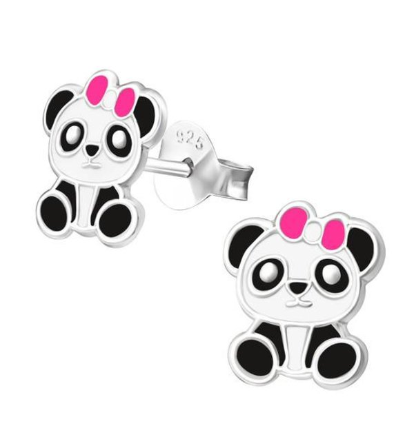 KAYA sieraden Silver childrens earrings 'Panda with pink bow'