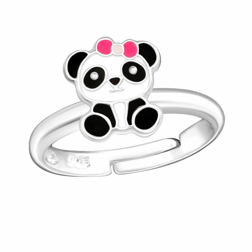 Zilveren kinderring 'Panda met roze strikje'