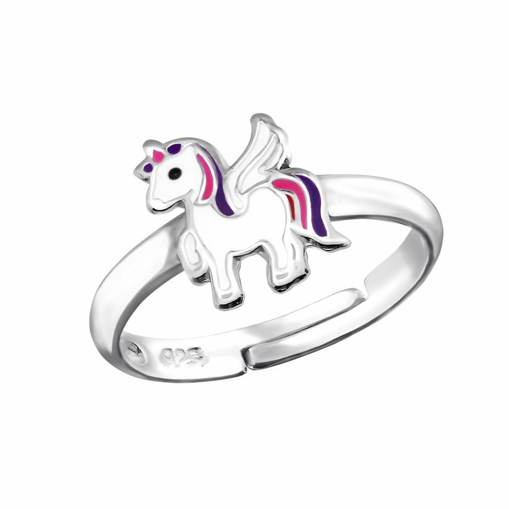 Zilveren kinderring 'Unicorn' met paarse manen