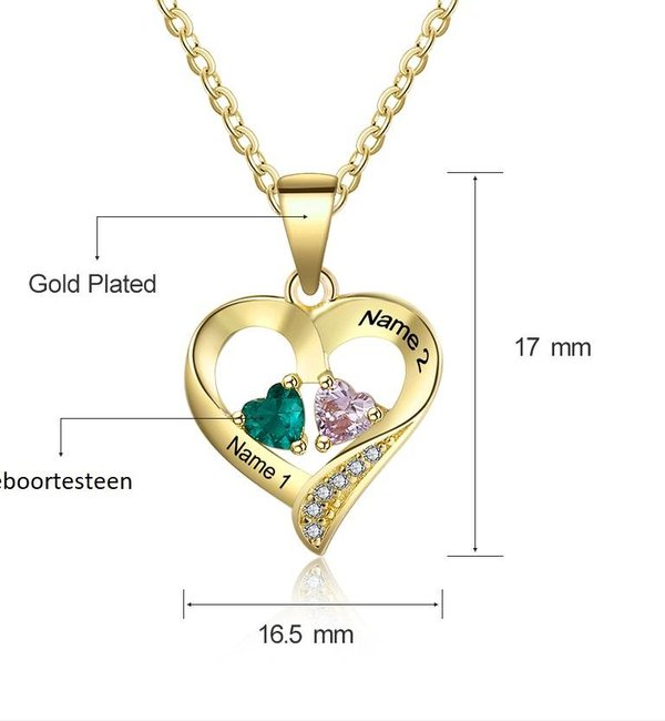 Gepersonaliseerde sieraden Necklace with birth stones 'three hearts' - Copy - Copy - Copy