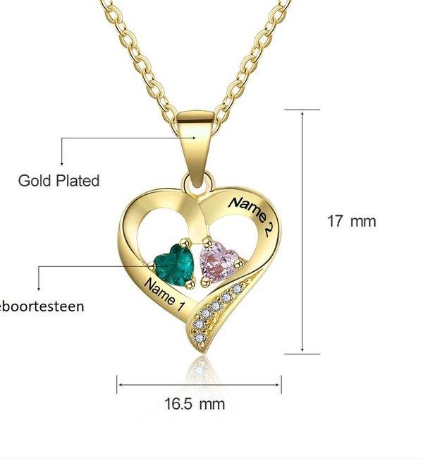 Gepersonaliseerde sieraden Zilveren Gepersonaliseerde Ketting 'Loving Heart' met Geboortesteen en Gravure