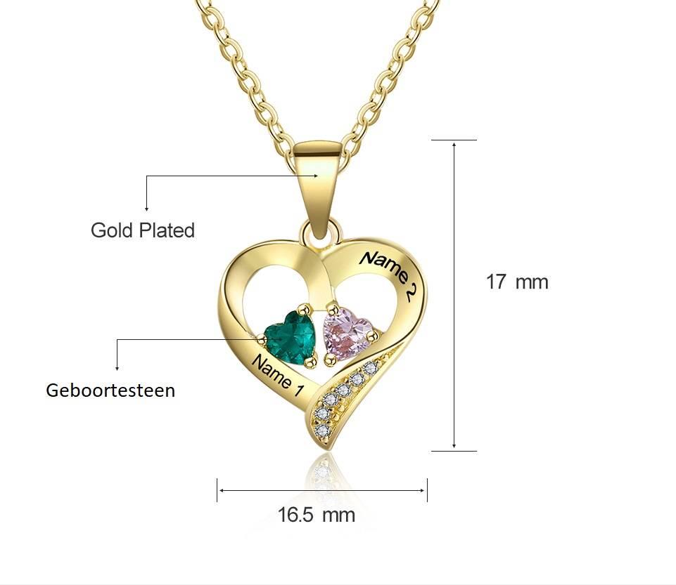 Gepersonaliseerde sieraden Zilveren Gepersonaliseerde Ketting 'Loving Heart' met Geboortestenen en Gravure