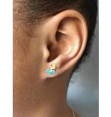 KAYA Zilveren kinderoorbellen 'Zeemeermin' met lichtblauwe staart met glitters