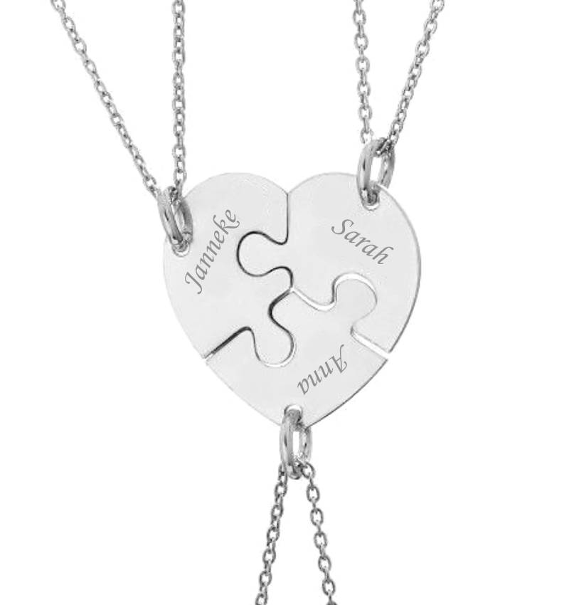 KAYA sieraden Zilveren Set Vriendschapsketting 'Puzzelstukjes'