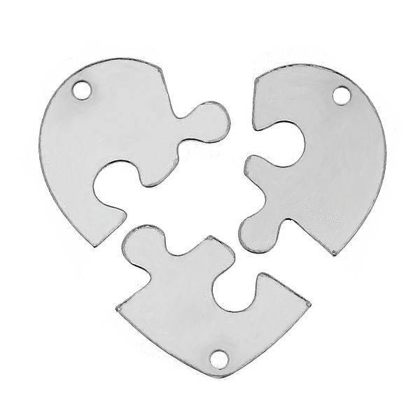 3 zilveren breekhartjes kettingen voor vriendinnen, zusjes of moeder & dochters