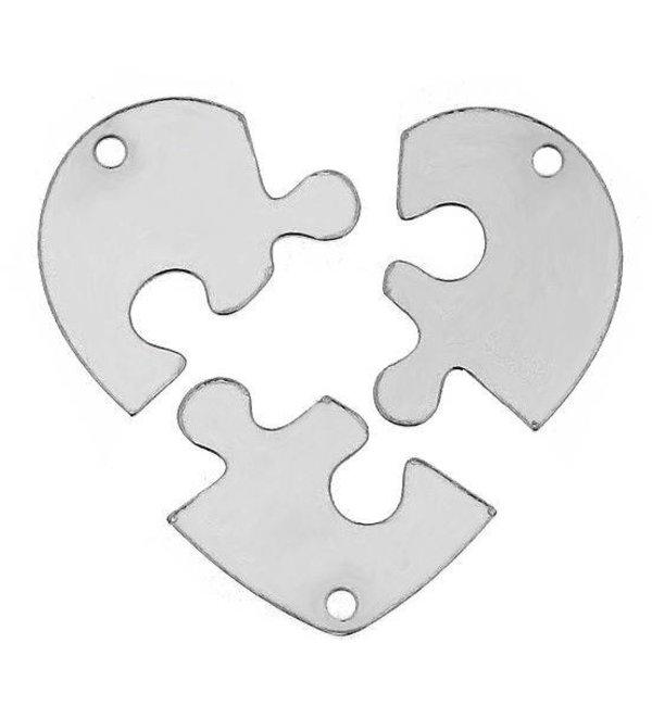 KAYA sieraden Set Vriendschapsketting 'Puzzelstukjes' - kies je materiaal