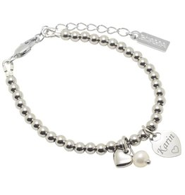 KAYA Bracelet 'Cute Balls' Engrave Heart & Pearl & Heart - Copy