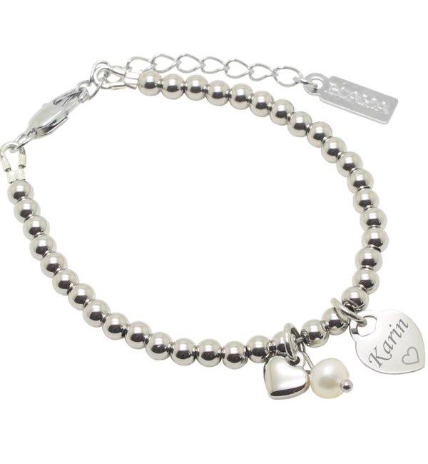Sieraden graveren Bracelet 'Cute Balls' Engrave Heart & Pearl & Heart - Copy