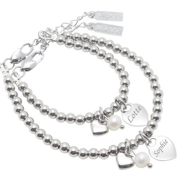 Sieraden graveren Bracelet 'Cute Balls' Engrave Heart & Pearl & Heart - Copy - Copy