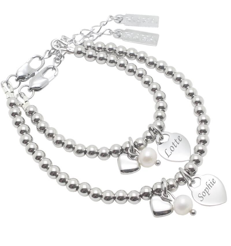KAYA sieraden Bracelet 'Cute Balls' Engrave Heart & Pearl & Heart - Copy - Copy