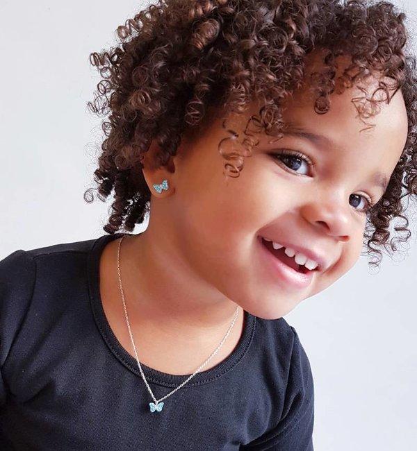 KAYA sieraden Silver earrings kids 'cute blue butterflies'
