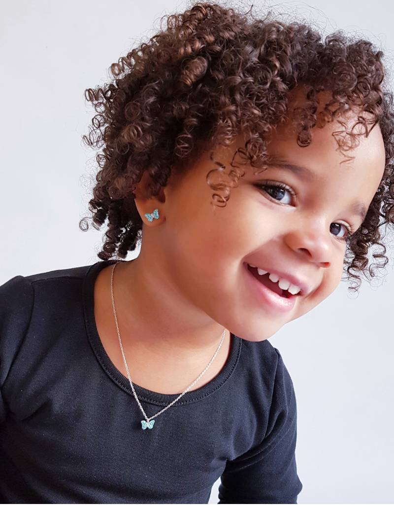 KAYA Zilveren kinderoorbellen 'Blue Butterfly'