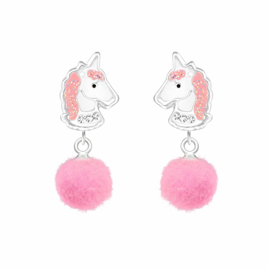 Zilveren kinderoorbellen 'Unicorn' glitter roze met pom pom
