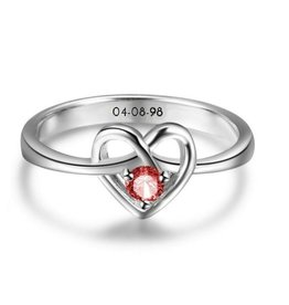 Silver ring with birthstone 'love'